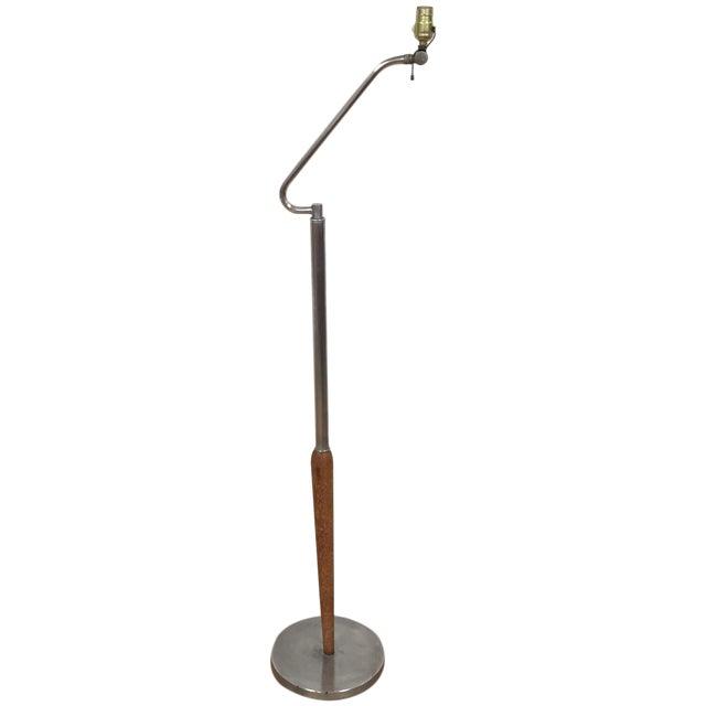 Mid-Century Oak & Aluminum Floor Lamp - Image 1 of 10