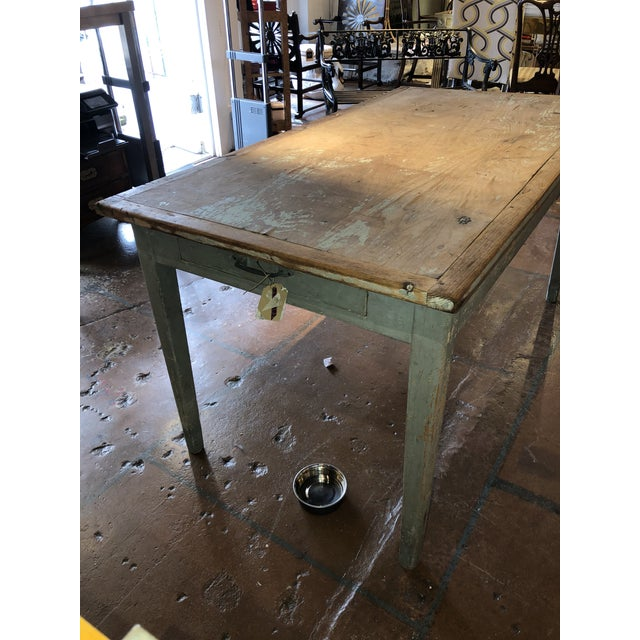Late 20th Century Antique Painted Wood Continental Table With Patina and Two Drawers For Sale - Image 5 of 13