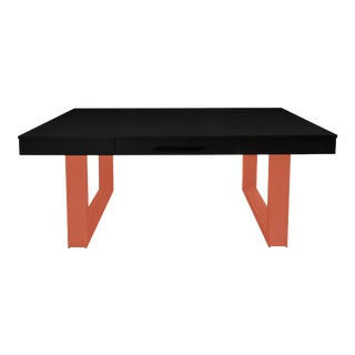 Mid-Century Modern Luxury Desk for Home Office From Garden Street in Ebony and Coral For Sale
