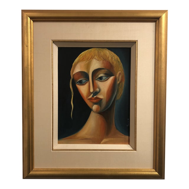 1970s Vintage Yuroz Young Woman Portrait Oil on Board Painting For Sale