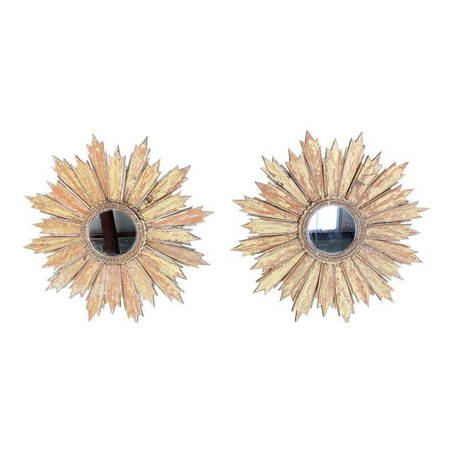 Pair of Italian Sunburst Mirrors With Wood Rays For Sale