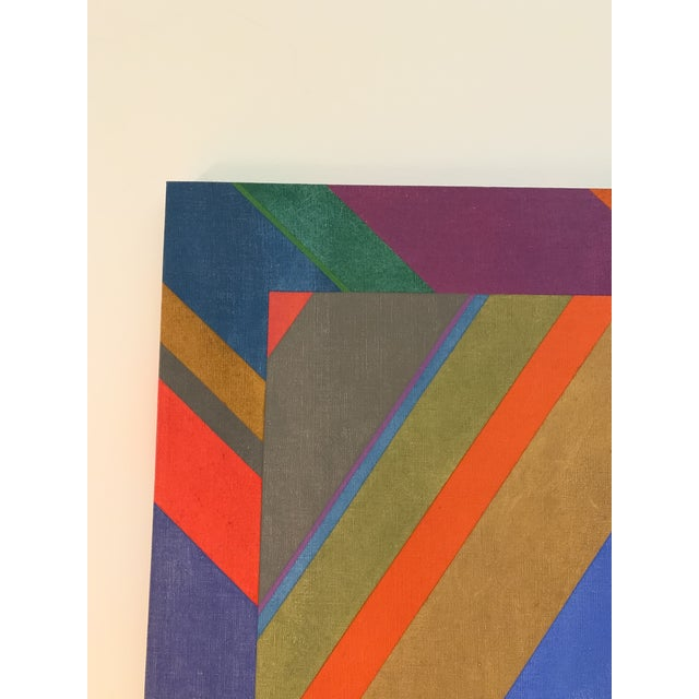 Canvas Large 1970s Graphic Hardedge Geometric Painting by Roland Ginzel For Sale - Image 7 of 12