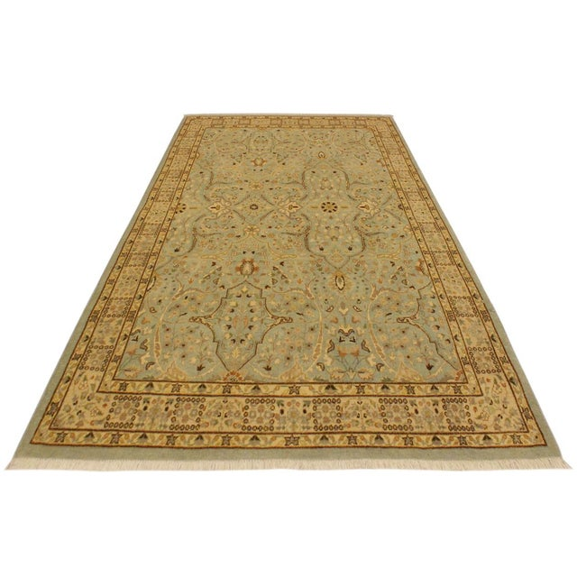 Semi Antique Istanbul Ira Blue/Ivory Turkish Hand-Knotted Rug -4'0 X 5'11 For Sale - Image 4 of 8