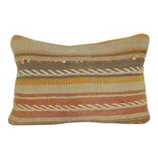 Vintage Kilim Pillowcase Throw Rug Pillow, Striped Wool Decorative Lumbar Kilim Pillow, Kelim Home Design Cushion 14'' X 20'' (35 X 50 Cm) For Sale