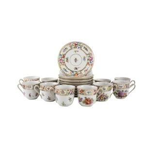 Circa 1910 Dresden Carl Thieme Hand Painted Floral Demitasse Cup & Saucers - Set of 20