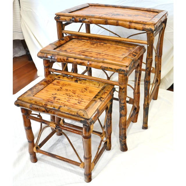 Bamboo Vintage Bamboo Nesting Tables - Set of 3 For Sale - Image 7 of 7