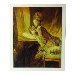"""French Color Print on Paper, """"Le Billet Doux"""" by Jean Honore Fragonard - 1966 For Sale"""