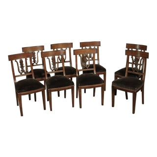Mid 19th Century Neoclassical Italian Walnut Chairs- Set of 8 For Sale