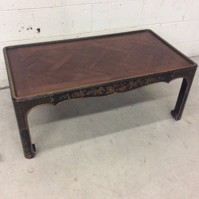 Gold Baker Asian Style Parquet Wood Coffee Table For Sale - Image 7 of 7