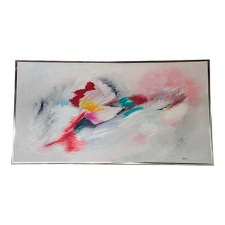 Abstract Oil on Canvas Painting Pastel Colors Signed by Artist and Framed For Sale