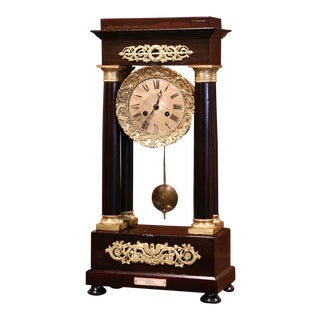 Mid-19th Century French Napoleon III Mahogany Portico Mantel Clock For Sale