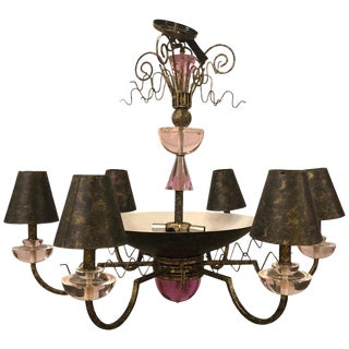 1960s Hollywood Regency Style Iron and Lucite Chandelier For Sale