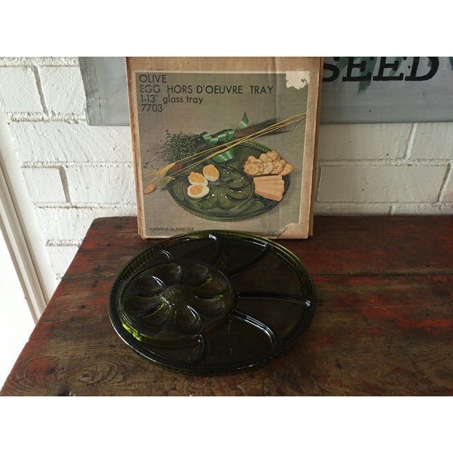 Green Glass Hors d'Oeuvre Tray in Box For Sale - Image 4 of 5