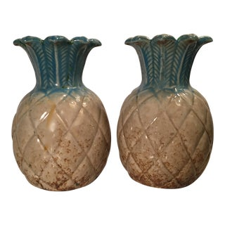 Vintage Pineapple Art Pottery Vases - A Pair