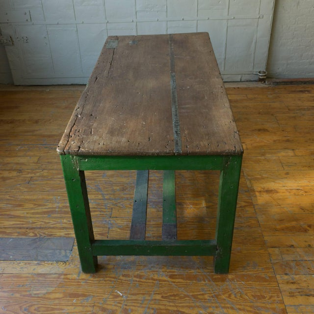 Wood Large French Industrial Wooden Table With Green Paint For Sale - Image 7 of 10