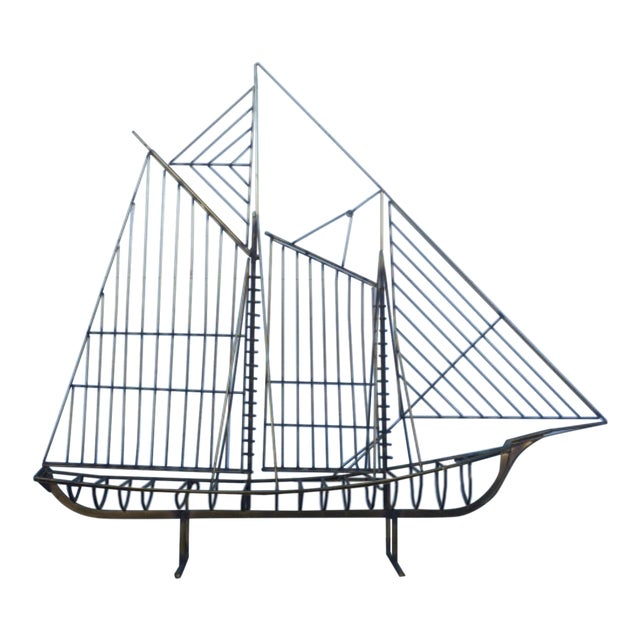 Curtis Jere Brass Boat Sculpture - Image 1 of 6