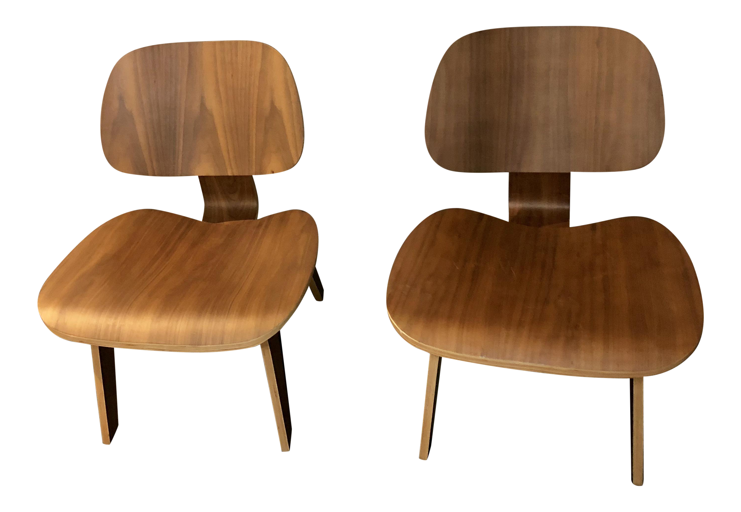Reproduction U201cEamesu201d Mid Century Modern Bent Plywood Lounge Chairs  A Pair  For
