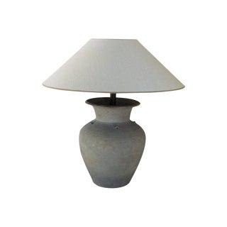 Unglazed Khmer Vase as Table Lamp For Sale