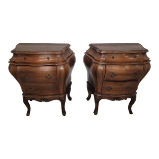 Pair of French Country Louis XV Brown Bombay Bombe Nightstands Made in Italy For Sale