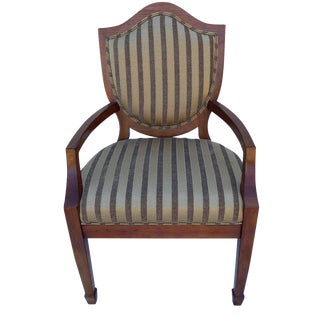 Shield-Back Striped Armchair