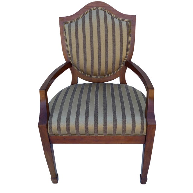 Shield-Back Striped Armchair For Sale