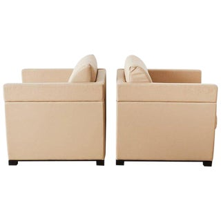Pair of Geiger for Herman Miller Leather Cube Chairs For Sale