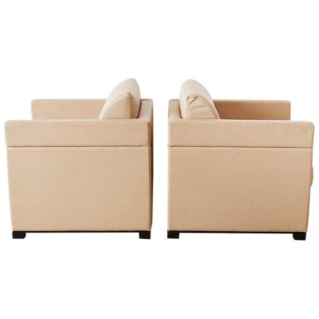 Peachy Pair Of Geiger For Herman Miller Leather Cube Chairs Creativecarmelina Interior Chair Design Creativecarmelinacom