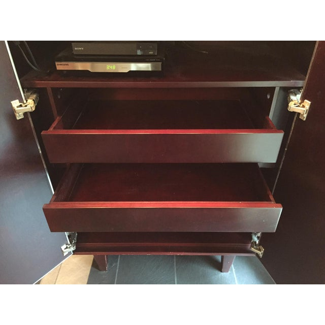 Custom Stainless & Mahogany Dialogica TV Cabinet For Sale In New York - Image 6 of 11