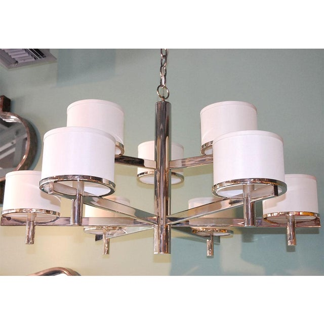 Paul Marra Design Nine-Arm 2-Tier Silk Drum Chandelier. Steel frame with fabric shades, shown in polished nickel with...