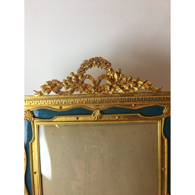 """Exquisite, one of a kind 19"""" French Gilt bronze ormolu & teal green guilloche enameled picture frame . Made in France..."""
