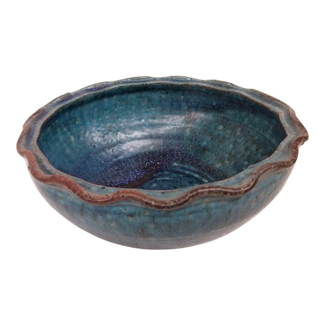 Artisan Glazed Decorative Serving Bowl For Sale