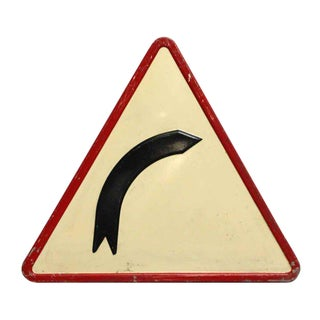Vintage French Right Curve Road Sign