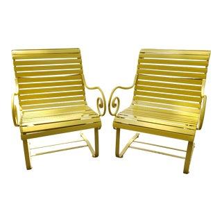 Vintage Mid-Century Modern Woodard Vinyl Strap Iron Chairs - a Pair For Sale