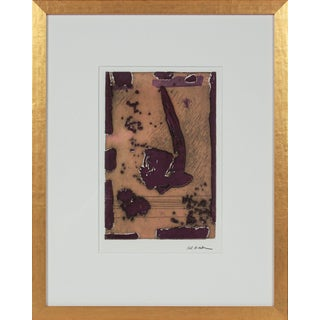 Orange & Plum Vintage Abstract 1990-2000s Etching in Gold Frame For Sale