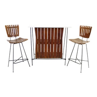 Mid-Century Danish Modern Arthur Umanoff Dry Bar & Stools - Set of 3 For Sale