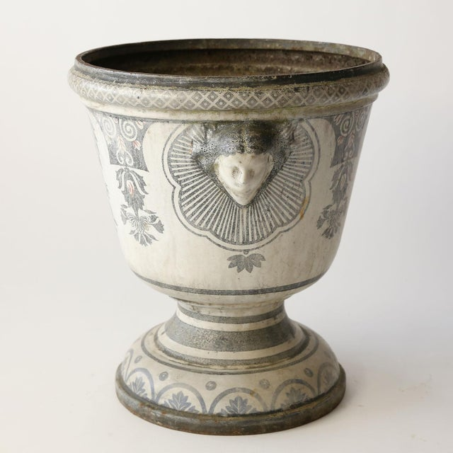 Enameled Cast Iron Rouen Urn For Sale - Image 11 of 13