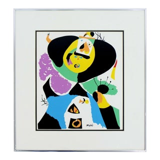 Contemporary Modern Framed Poster Print Joan Miro For Sale