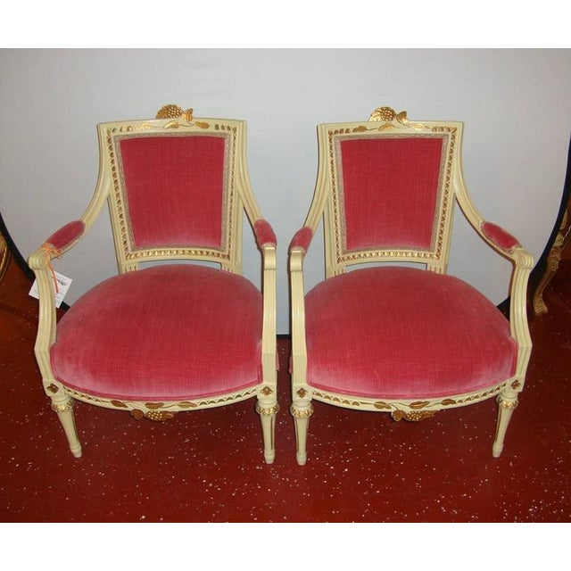 French Pair of Carved Fauteuils by Gustavian Side Chairs by Maison Jansen For Sale - Image 3 of 11