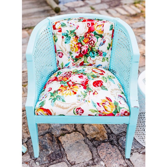 Mid-Century Blue Floral Chairs - A Pair - Image 4 of 10