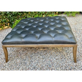 Leather Tufted Ottoman With Wood Frame in the Manner of Robsjohn Gibbings Preview