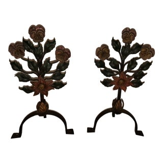 Antique/Vintage Wrought Iron Floral Andirons - a Pair For Sale