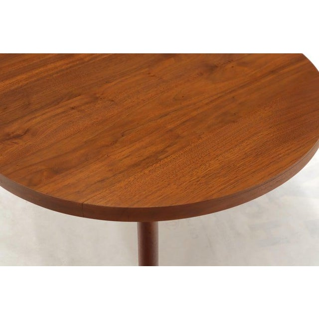 1970s Thick Solid Teak Top Round Coffee Center Table For Sale - Image 5 of 11