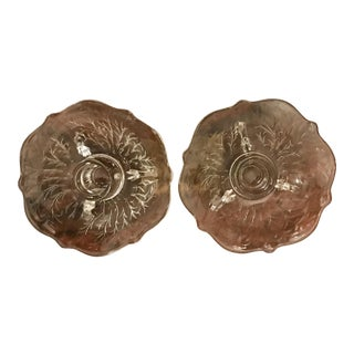 Vintage Leaf Floral Engraved Candle Holders - a Pair For Sale