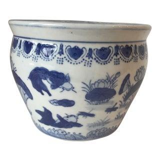 Blue & White Chinese Fish Vase