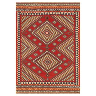 Stripes & Diamonds Red 7 x 10 Vintage Kilim