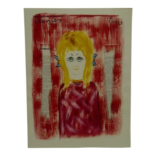 "1970s Original Francois ""Isabelle"" Mixed Media French Painting on Paper"