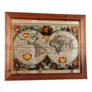 1970s English Renaissance World Map Wall Mirror For Sale