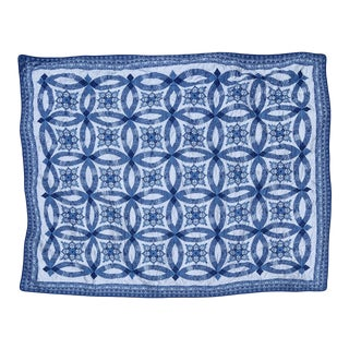 Lightweight Handmade Chinoiserie Chic Blue & White Quilted Coverlet For Sale