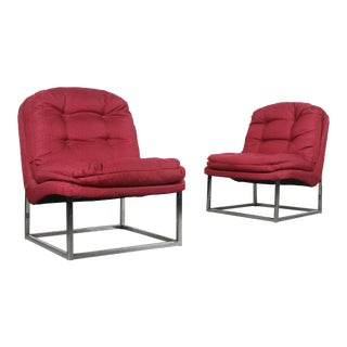 Scoop Lounge Chairs with Sturdy Chrome Bases, Attributed to Milo Baughman For Sale