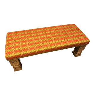 Long Bench With Hand-Chased German Silver Legs and Custom Fabric For Sale